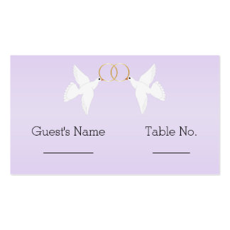 Doves Wedding Place Setting Double-Sided Standard Business Cards (Pack Of 100)