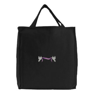 Doves with banner embroidered bag