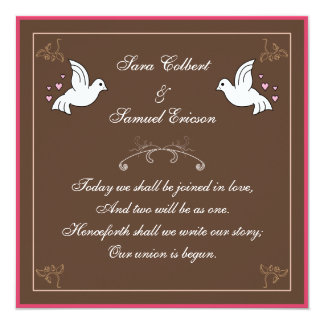 Doves with Hearts Brown, Pink White Poem Invite