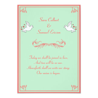 """Doves with Hearts Mint, Peach, and White 5""""X7"""" 13 Cm X 18 Cm Invitation Card"""
