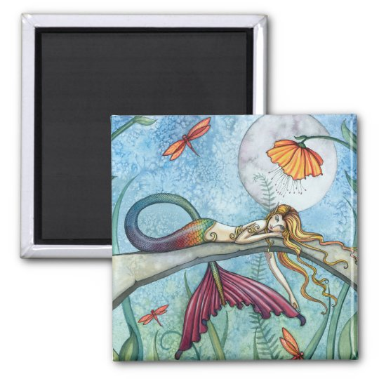 Down by the Pond Mermaid Art Square Magnet