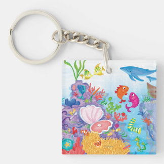 Down In The Ocean Double-Sided Square Acrylic Key Ring