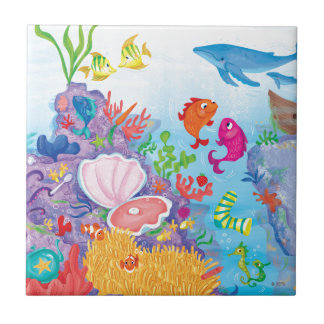 Down In The Ocean Small Square Tile