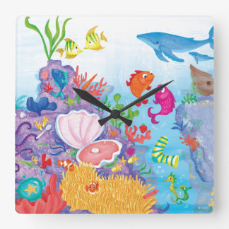Down In The Ocean Square Wall Clock