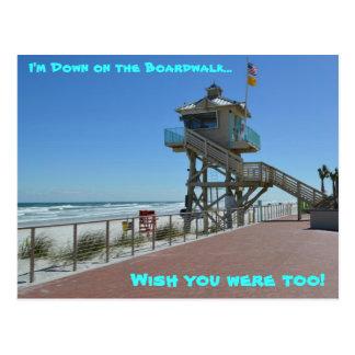 DOWN ON THE BOARDWALK at Daytona Beach, Florida Post Cards