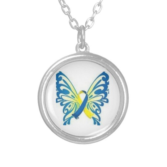 down syndrome awareness butterfly ribbon necklace