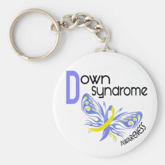 Down Syndrome BUTTERFLY 3.1 Basic Round Button Key Ring