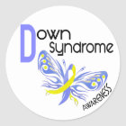 Down Syndrome BUTTERFLY 3.1 Classic Round Sticker