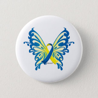 Down Syndrome Butterfly Ribbon 6 Cm Round Badge