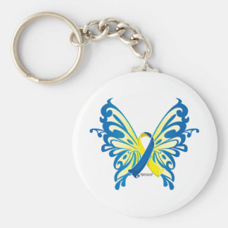 Down Syndrome Butterfly Ribbon Basic Round Button Key Ring