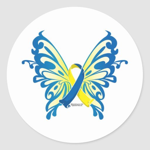 Down Syndrome Butterfly Ribbon Round Stickers