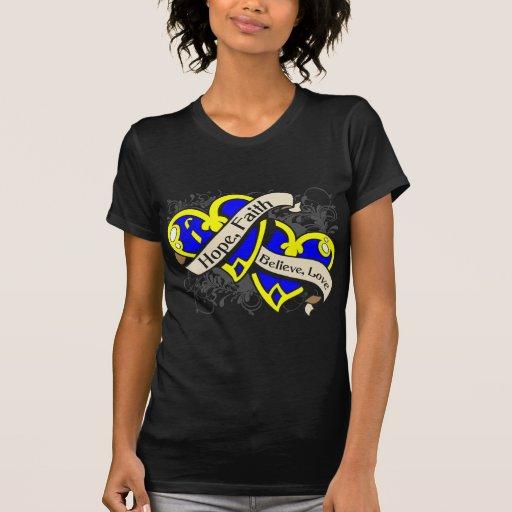Down Syndrome Hope Faith Dual Hearts Tshirt
