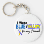 Down Syndrome I Wear Blue & Yellow For My Friend 2 Basic Round Button Key Ring