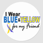 Down Syndrome I Wear Blue & Yellow For My Friend 2 Stickers