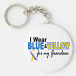 Down Syndrome I Wear Blue & Yellow For My Grandson Basic Round Button Key Ring