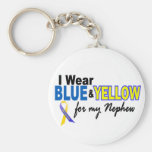 Down Syndrome I Wear Blue & Yellow For My Nephew 2 Basic Round Button Key Ring