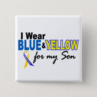Down Syndrome I Wear Blue & Yellow For My Son 2 15 Cm Square Badge