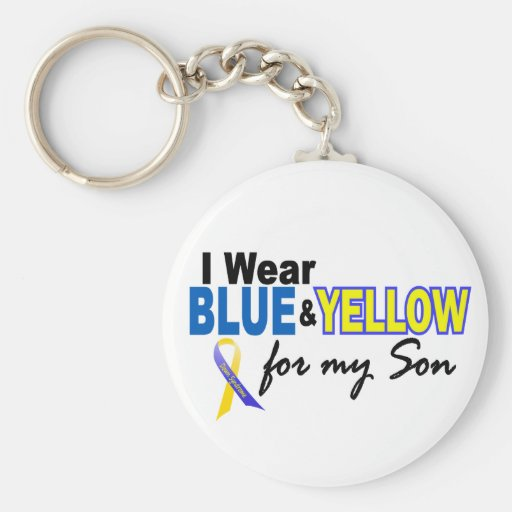 Down Syndrome I Wear Blue & Yellow For My Son 2 Basic Round Button Key Ring