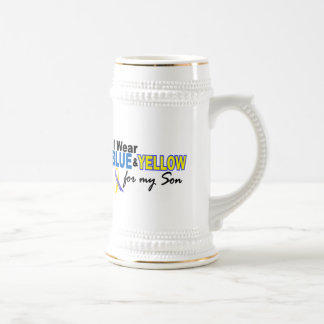 Down Syndrome I Wear Blue & Yellow For My Son 2 Beer Steins