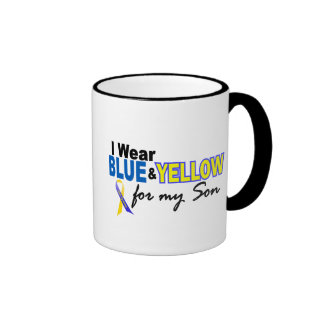 Down Syndrome I Wear Blue & Yellow For My Son 2 Ringer Coffee Mug