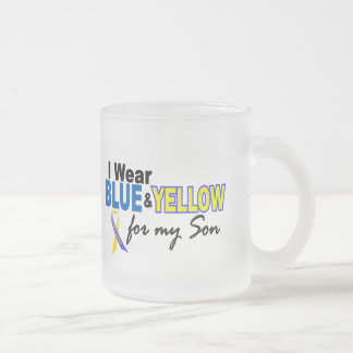 Down Syndrome I Wear Blue & Yellow For My Son 2 Frosted Glass Mug