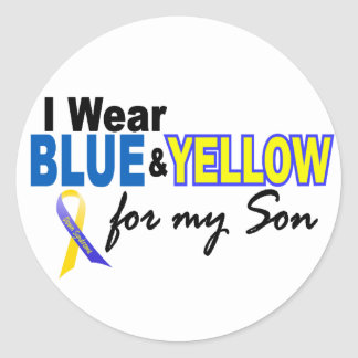 Down Syndrome I Wear Blue & Yellow For My Son 2 Round Sticker