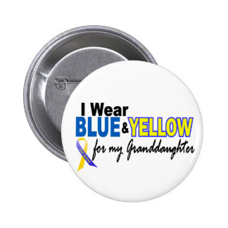 Down Syndrome I Wear Blue & Yellow Granddaughter 2 6 Cm Round Badge