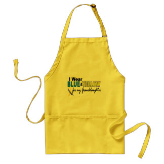 Down Syndrome I Wear Blue & Yellow Granddaughter 2 Adult Apron