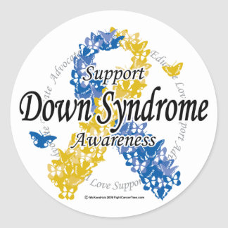 Down Syndrome Ribbon of Butterflies 2 Round Sticker