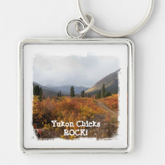Down the Mountain; Yukon Chicks ROCK Silver-Colored Square Key Ring