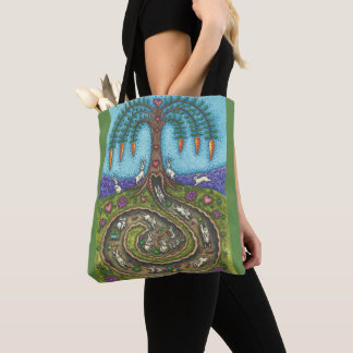 DOWN THE RABBIT HOLE TOTE BAG Green