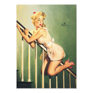 Down the Stairs - Retro Pin-up Girl Invitation