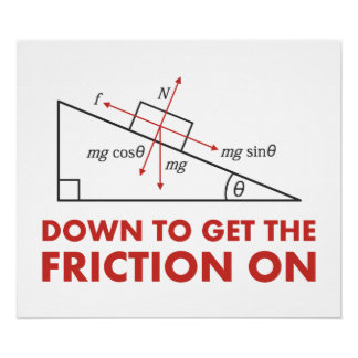 Down to Get the Friction On Physics Diagram Posters