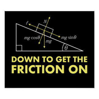 Down to Get the Friction On Physics Diagram Print