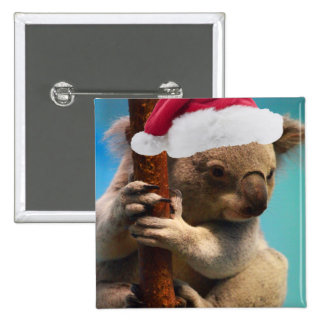 Down Under Christmas Koala Pinback Buttons
