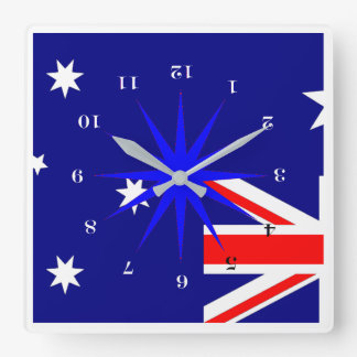 Down Under (for our Friends in Australia) Square Wall Clock