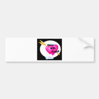 down with cupid valentine pink hearts on black bumper sticker