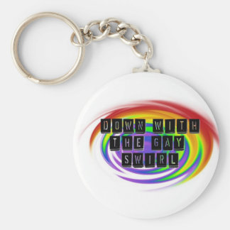 Down with the Gay Swirl GLBT Pride Key Chain