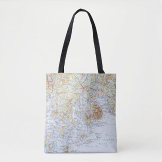 Downeast Maine Map Tote Bag