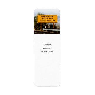 Downgrade Slow Vehicles Return Address Label