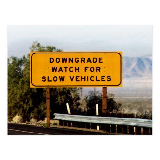 Downgrade Slow Vehicles Postcard