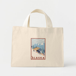 Downhhill Snow Skier - Alaska Mini Tote Bag