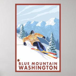Downhhill Snow Skier - Blue Mountain, Washington Poster