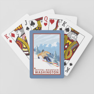 Downhhill Snow Skier - Crystal Mountain, WA Playing Cards