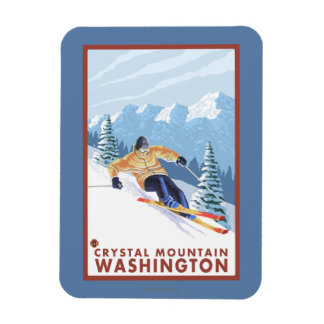 Downhhill Snow Skier - Crystal Mountain, WA Rectangular Photo Magnet