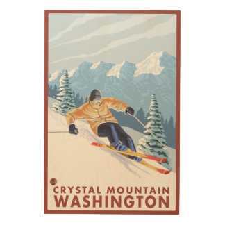 Downhhill Snow Skier - Crystal Mountain, WA Wood Wall Art