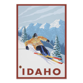 Downhhill Snow Skier - Idaho Poster