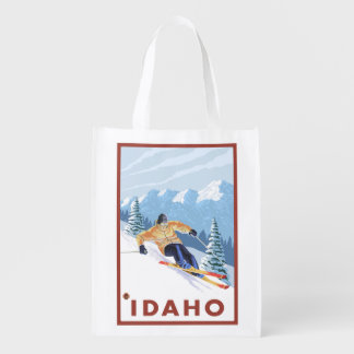 Downhhill Snow Skier - Idaho Reusable Grocery Bag