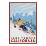 Downhhill Snow Skier - Lake Tahoe, California Posters