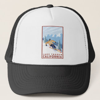 Downhhill Snow Skier - Lake Tahoe, California Trucker Hat